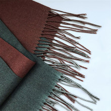 [Lakysilk]Scarf Women Cashmere Warm Thick Soft Shawls&Wrap Ladies Luxury Brand Tassel Pashmina Winter Elegant Design Two-Tone