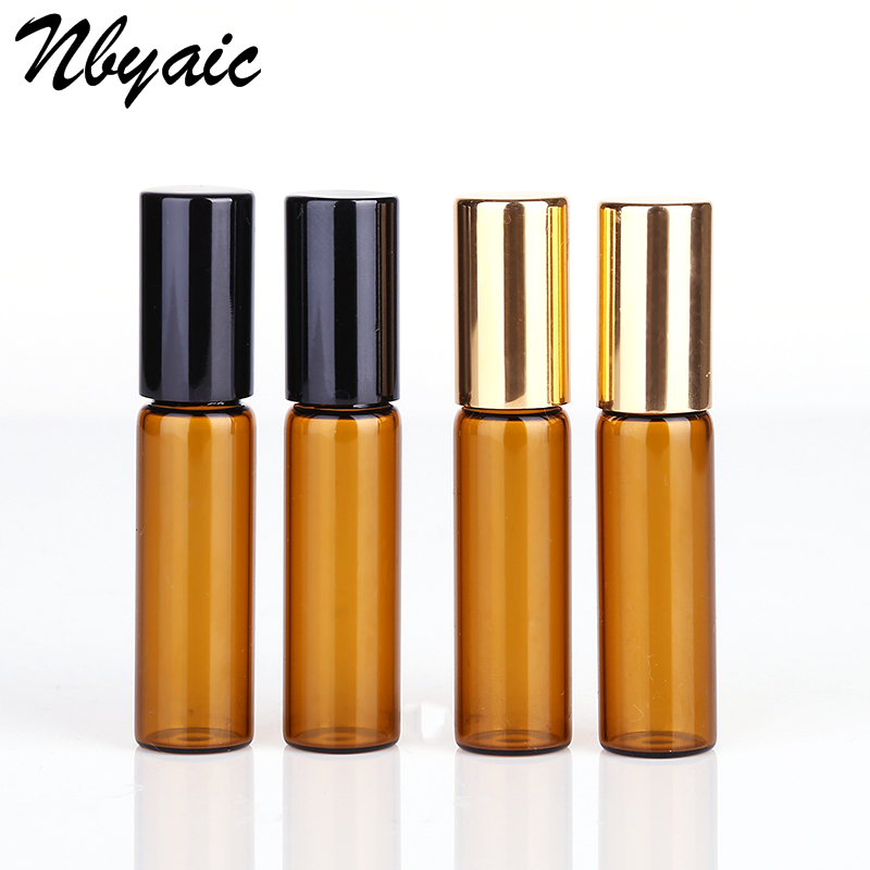50pieces/lot 1ml 2ml 3ml 5ml 10ml Glass Roll On Bottle With Stainless Steel Roller Small Essential Oil Roller-on Sample Bottle