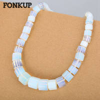 Fonkup Women Short Necklace Natural Opal Chains Trendy Men Accessories Stone Crystal Jewellery Geometric Transparent Ornament