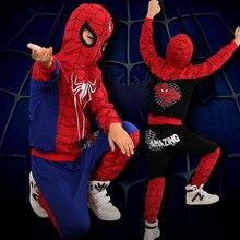100% хлопок паук костюм хэллоуин косплей детям одежду с капюшоном снаряжение мальчиков комплект одежды рождественский подарок TZ09