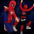 100% algodón Spiderman traje de Halloween Cosplay niños ropa traje encapuchado muchachos que arropan el sistema regalo navidad TZ09