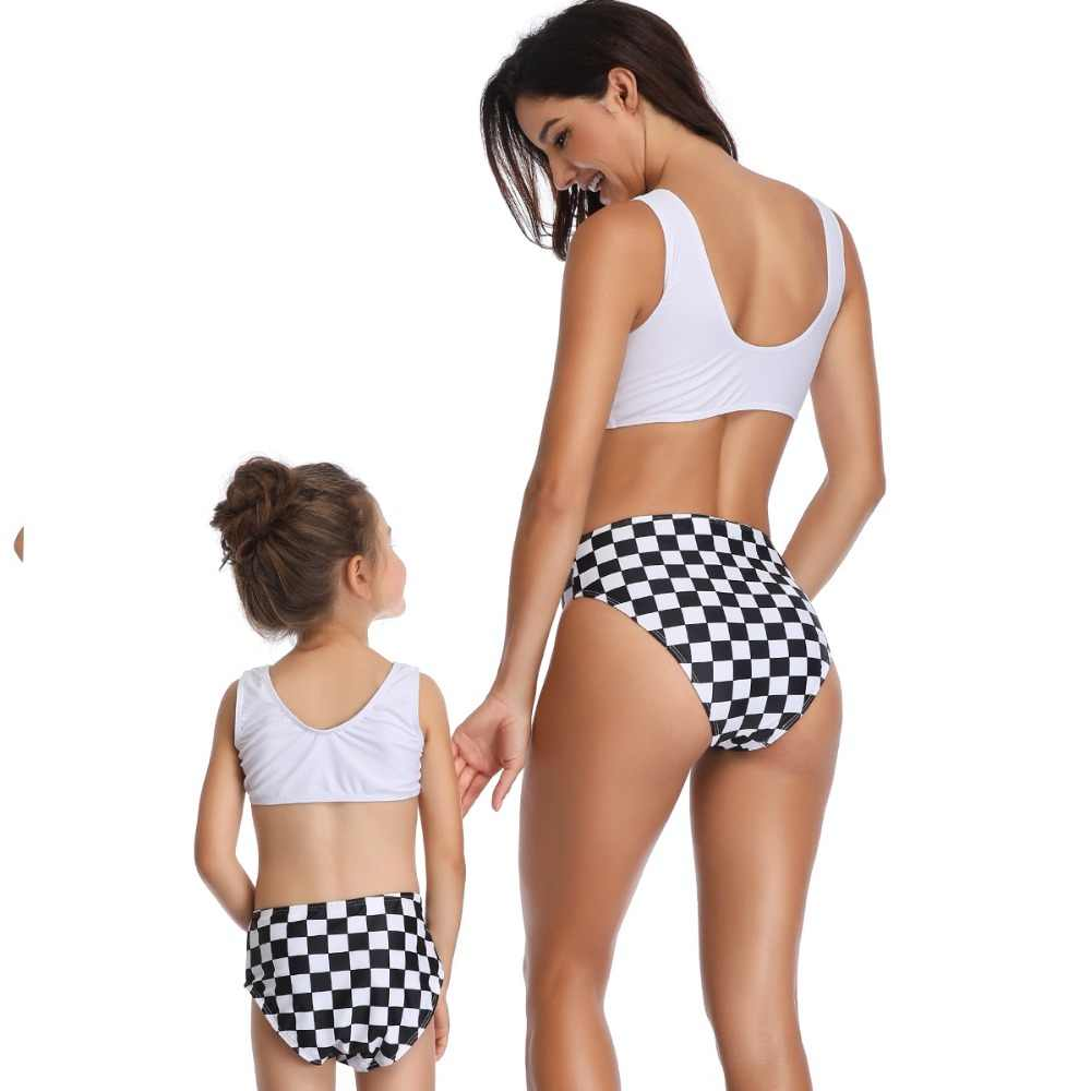 panda mother daughter swimwear family matching outfits look mommy and me clothes mom daughter swimsuits plaid bikini dresses