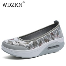 WDZKN Big Size 35-41 Women Shoes Bling Round Toe Slip On Women Flat Platform Shoes Summer Breathable Air Mesh Women Casual Shoes