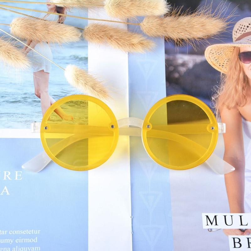 חדש אופנה עגול נשים משקפי שמש בציר שקוף שמש משקפיים נקבה צהוב אדום מראה אנטי Uv Oculos דה סול Feminina
