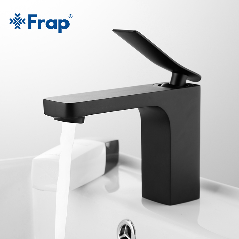 Frap black basin faucet single lever hot and cold water - Bathroom sink faucets separate hot and cold ...