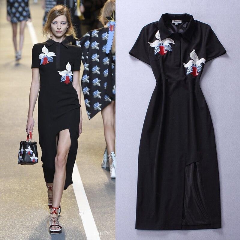 Haute qualité 2018 été et automne nouveaux modèles de défilé de mode broderie de fleurs noir à manches courtes longue robe femmes Split