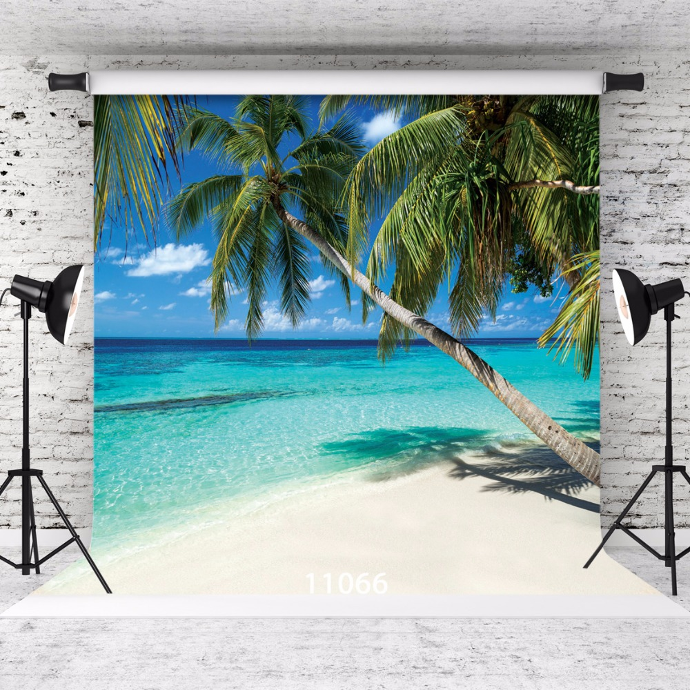 SJOLOON summer beach photography background sea trees beach and blue sky photography backdrops fond photocall studio vinyl props blue sky white clouds beach coconut tree backdrops fotografia fundo fotografico natal background photograph