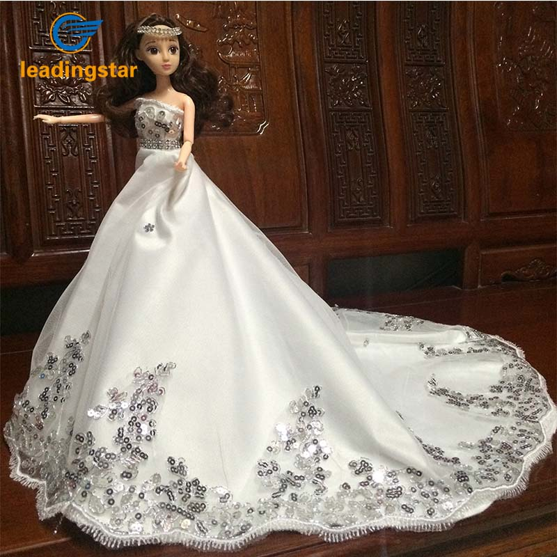 Leadingstar 2017 New Wedding Bridal Dress Princess Gown Evening Party Dress Doll Clothes Outfit for Barbie Doll for kids Gift leadingstar 2017 new wedding bridal dress princess gown evening party dress doll clothes fit for barbie doll for kids gift zk30