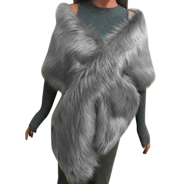 MIARHB Women Scarf Faux Fox Fur Long Shawl Wrap Shrug Scarf Pashmina Bridal Wedding Winter Thick Warm stola echarpe hiver femme