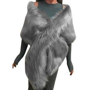 Image 1 - MIARHB kobiety szalik sztuczne futro z lisa długi szal Wrap wzruszając ramionami szalik Pashmina ślubne zimowe grube ciepłe stola echarpe hiver femme