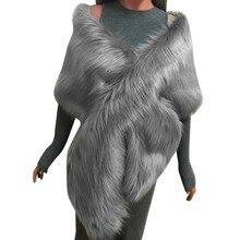 Miarhb lenço de pele falsa de raposa, envoltório longo de xale, cachecol pashmina, para casamento, de inverno, grosso mulher