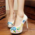 Vintage Embroidery Pumps Floral embroidered platform high heels Leather shoes For cheongsam Retro Women Wedding Party shoes