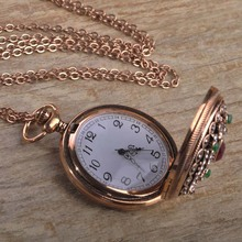 Turkish Quartz Pocket Watch Necklace For Women Resin Antique Gold Plated Exquisite Vintage Sweater Pendant Necklace Bijouterie