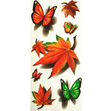 3D Lifelike Pretty Temporary Tattoo 19X9CM Butterfly And Maple Leaf