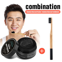 Oral Hygiene 1 PC Activated Charcoal Teeth Whitening Powder And Charcoal Soft Bristle Wood Handle Toothbrush