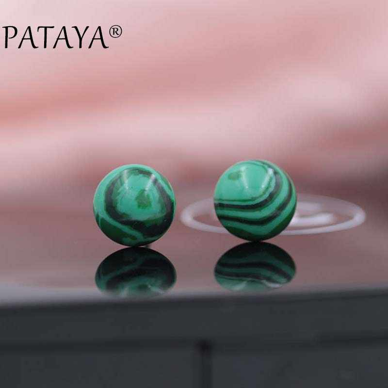 PATAYA Fashion Hot Gray Onyx Earrings New Arrivals Round Natural Stone Stud Earrings Women Wedding Luxury Earring India Jewelry