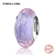 StrollGirl sparkling Murano glass beads purple 925 silver charms fit original pandora bracelet diy jewelry making women gifts(China)