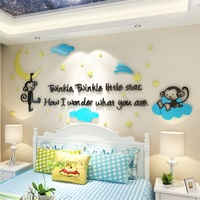 Naughty Monkey Crystal Wall Stickers Living Room TV Wall Sofa Background Children S Room Creative 3D