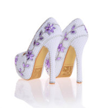 White Color Pearls With Purple Rhinestone Party Prom Stiletto Women Shoes Bridal High Heels