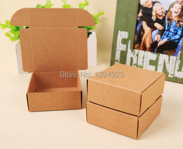 Size 50 20mm Kraft Packaging Jewelry Box Diy Small Gifts Brown Craft Bo Recycled