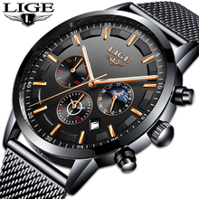 Relogio LIGE New Mens Watches Top Brand Luxury Casual Quartz Wristwatch Men Fashion Stainless Steel Waterproof Sport Chronograph fossil chase timer chronograph wristwatch mens with stainless steel mens watches top brand luxury fs5542p