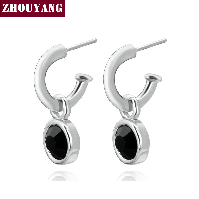 Top Quality Concise Black Crystal Silver Color Earring Austrian Crystal Wholesale ZYE457 ZYE232