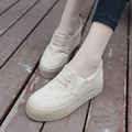 Less Platform Hidden Heel Traditional Plimsolls Creepers Platform Shoes Pure Color Plain Womens Flats Soft Leather Canvas Canvas