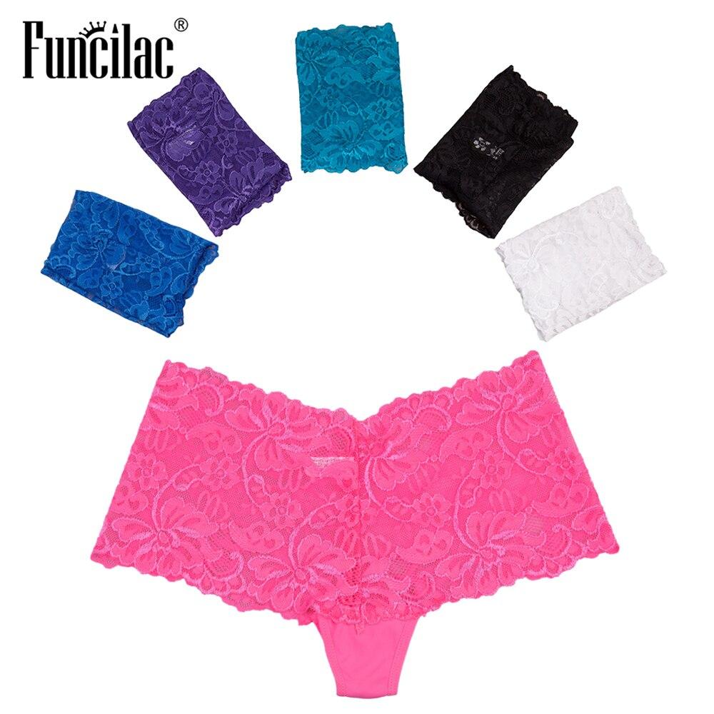 FUNCILAC Sexy Women Boxer Cotton Panties Lace BTransparent Boyshort Female Underwear Kawaii Letter Print Lingerie 5 Pcs/set