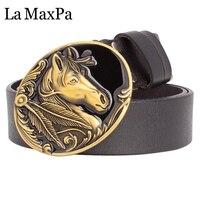 ファッションメンズベルト馬バックルゴールデン馬ヘッドカウスキン革ベルト3.8センチピンバックル馬ベルト用男