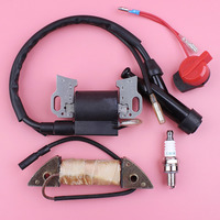 Ignition Charging Coil Stop Switch Spark Plug Kit For Honda GX340 GX390 11HP 13HP GX 340 390 Lawn Mower Engine Part
