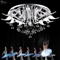 Post Modern Italy Fabio Fornasier Led G4 Chrome Swan Chandelier Luxury Lustre De Cristal Chandelier Lighting For Living Room