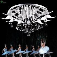 Post Moderne Italien Fabio Fornasier Led G4 Chrom Schwan Kronleuchter Luxus Glanz De Cristal Kronleuchter Beleuchtung Für Wohnzimmer