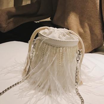 Bucket Bag Purse | New Fringed Feather Pearl Design Bucket Style Women Shoulder Bag Handbag Crossbody Mini Messenger Bag Female Bolsa Totes Purse