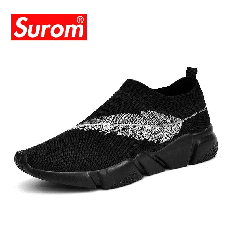 SUROM transpirable zapatillas de deporte de moda de los hombres de malla suave Slip on zapatos casuales de los hombres zapatos de tela elástica mocasines zapatos de conducción zapatos de hombre adultos