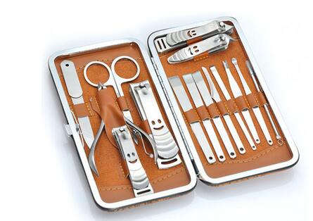 APINKGIRL Professional 15 in1 Pedicure Manicure Set font b Nail b font Clippers Cuticle Grooming Kit