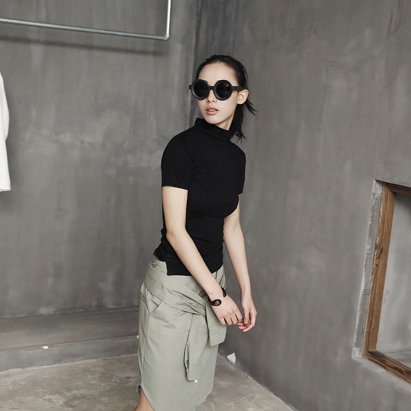 [EAM] Women White Brief Vent Cool High Elastic T-shirt New Turtleneck Short Sleeve  Fashion Tide  Spring Summer 2020 JL447 5