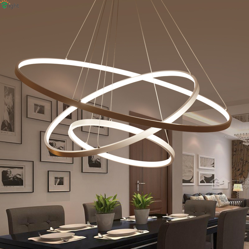 Modern DIY Aluminum Ring Led Pendant Chandelier Light Lustre Acrylic Bedroom Hanging Lights Dining Room Led Chandeliers Lighting modern lustre crystal led chandelier lighting chrome metal living room led pendant chandeliers light led hanging lights fixtures