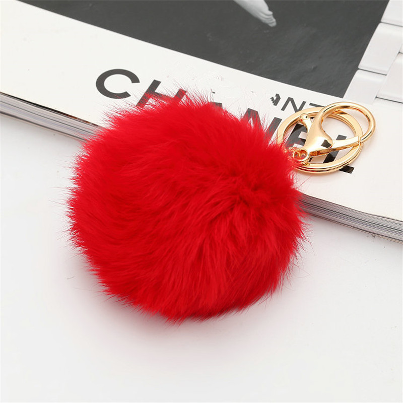 HCW JEWELRY STORE Hot selling New 6 CM Length Rabbit Fur Ball Cell Phone Car Keychain Pendant Handbag Charm Key Chain PomPom Charm Key ring