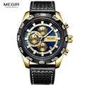 Megir кожаный ремешок спортивные кварцевые часы для мужчин хронограф военный Топ бренд Роскошные наручные часы для мужчин Relogios 2096 г Золотой с...