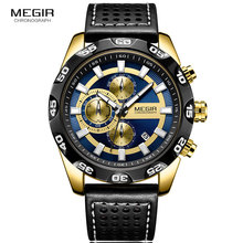Megir Leather Strap Sports Quartz Watches Men Chronograph Military Top Brand Luxury Wrist Watch for Man Relogios 2096G Gold Blue цена и фото