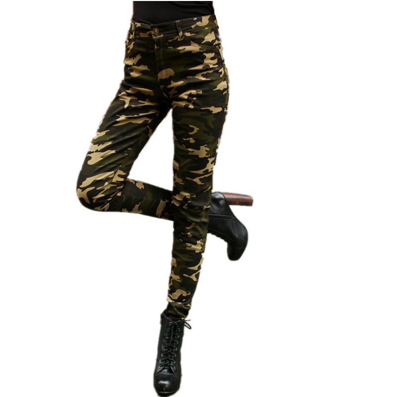 Camouflage   Pants   Female Summer Leisure Cargo Jeans Women Plus Size High Waist Skinny Stretch Pencil   Pants     Capri   Pantalon Femme
