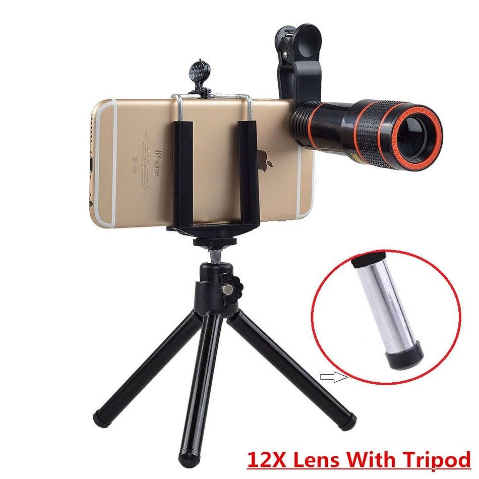 bilder für 2017 Objektiv-handy-foto-objektiv Kit Universal Clip 12x Zoom Teleobjektiv Telescope mit Mobilen Stativ Für iPhone 4 s 5 5c 5 s 6 6 s 7 8