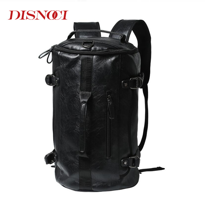 Man Leather Casual Brand Laptop Backpack Basketball Bag Men
