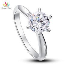 Павлин Звезда 6 когти Свадебные обещания обручальное кольцо пасьянс Твердые 925 пробы серебряные украшения 1,25 Ct CFR8002
