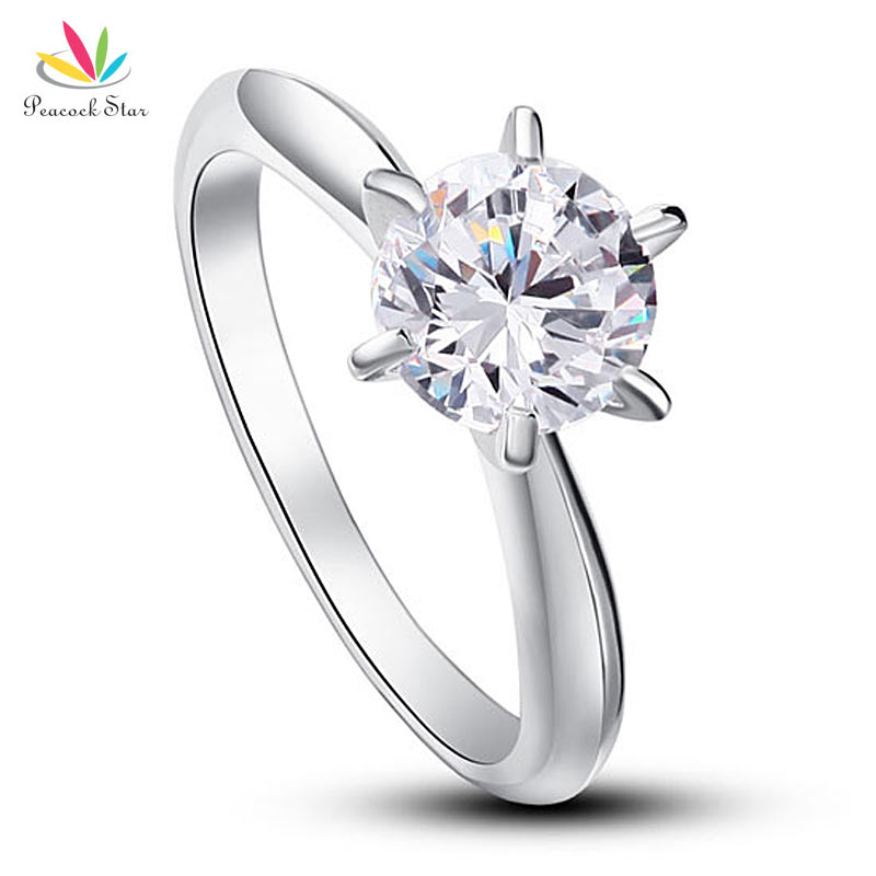 Peacock Star 6 Claws Wedding Promise Engagement Ring Solitaire Solid 925 Sterling Silver Jewelry 1.25 Ct CFR8002 peacock star solid sterling 925 silver bridal wedding promise engagement ring set 2 ct pear jewelry cfr8224