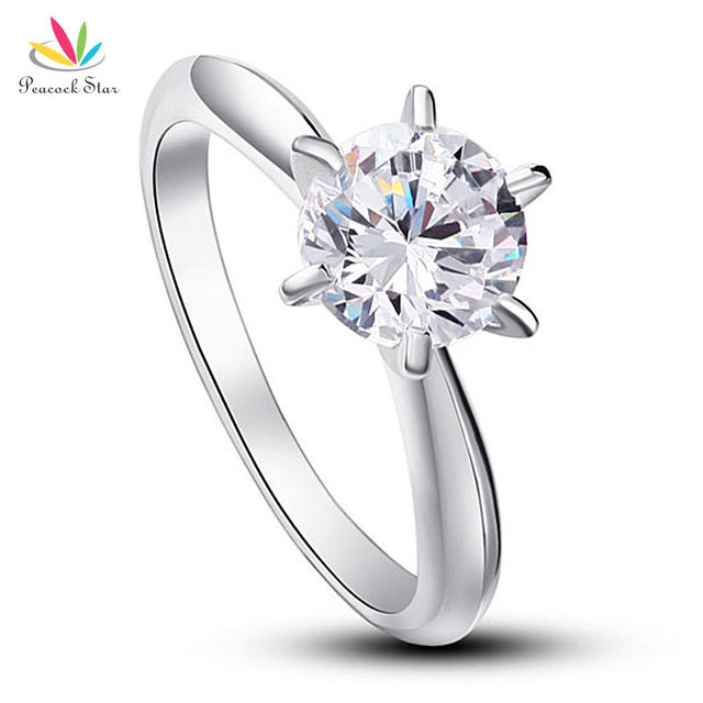 Peacock Star 6 Claws Wedding Promise Engagement Ring Solitaire Solid 925 Sterling Silver Jewelry 1.25 Ct Created Diamond CFR8002