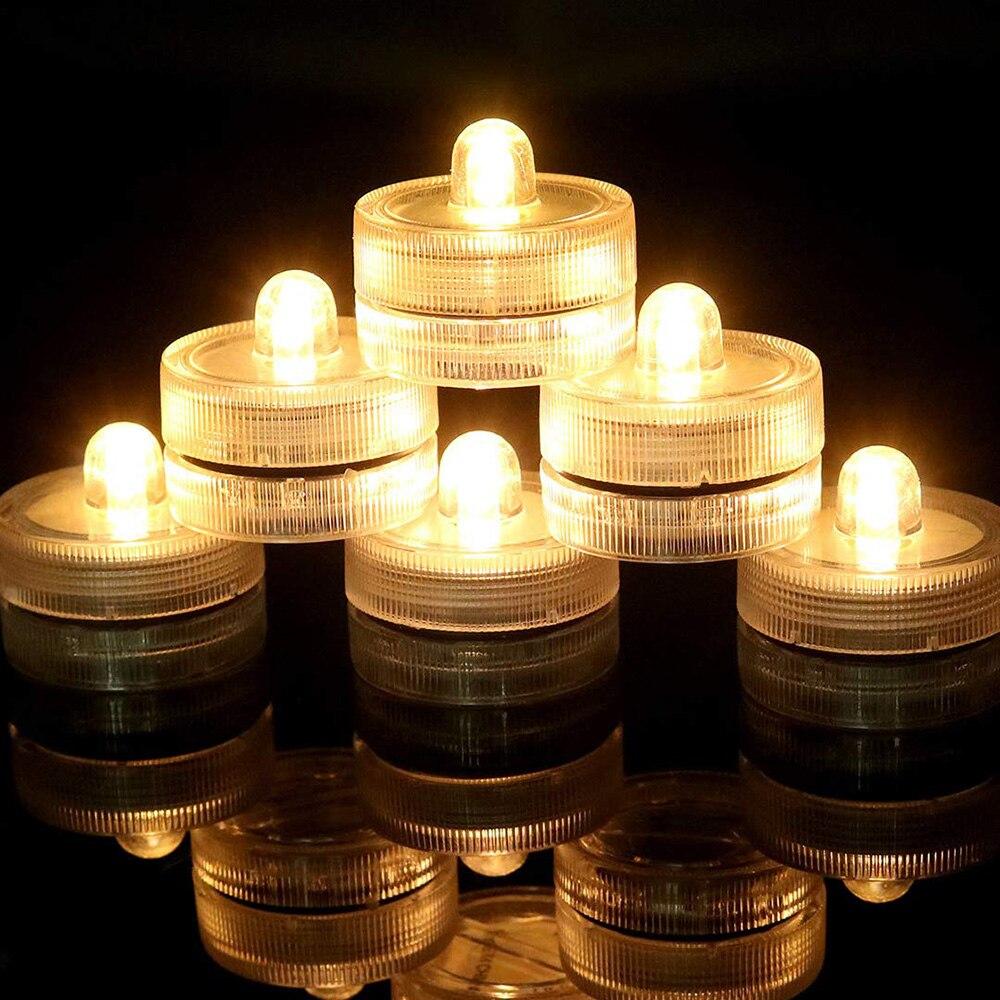 Dompelpompen LED Verlichting Waterdicht Onderwater LED Kaarsen Thee Licht voor Evenementen Bruiloft Centerpieces Vaas Bloemen Xmas Holiday