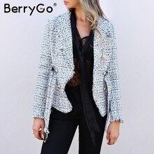 BerryGo Plaid tassel tweed women blazer coat V-neck double breasted button belt
