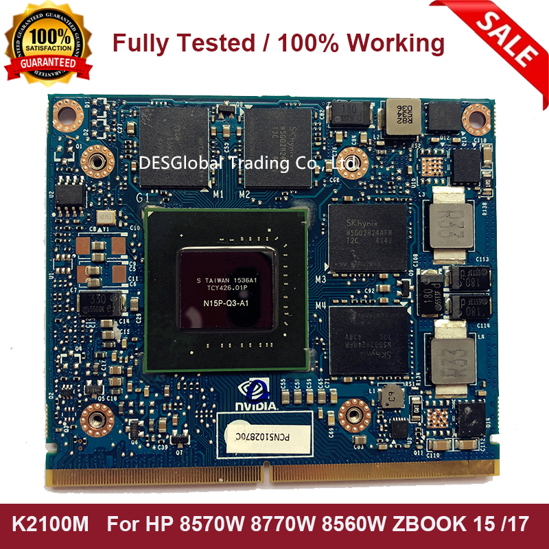 Original K2100 K2100M 2GB N15P-Q3-A1 DDR5 VGA Video Graphics Card For Dell M4700 M4800 Fully Tested Fast Shipping