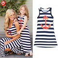 Summer Family Look Kids Girls Dresses Mother And Daugther Fall Full Balck Striped Dress Anchor Matching Family Clothes Outfits